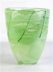 Sale 8902 - Lot 35 - A Large Kosta Boda Green Art Glass Contrast Vase (H 24cm Dia 20cm)