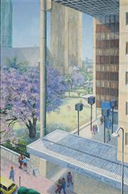 Sale 8947 - Lot 585 - Henry Francis Bartlett (1916 - 2014) - Brisbane CBD, Bank of Queensland Centre 75 x 49 cm (frame: 87 x 62 x 4 cm)