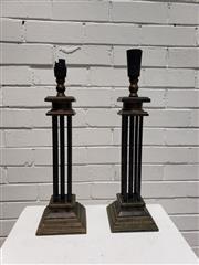 Sale 9080 - Lot 1082 - Pair of Column Form Table Lamps (H:48cm)