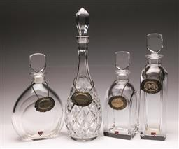 Sale 9104 - Lot 56 - A Group of 4 Glass Decanters inc Orrefors and Spirit Labels
