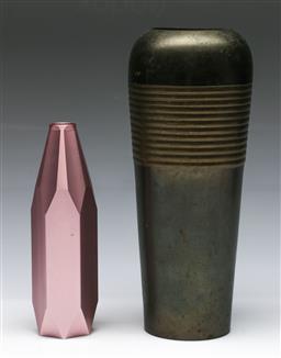 Sale 9148 - Lot 65 - A ribbed brass vase (H 29cm) togeher with A Lebensart vase (H 20cm)
