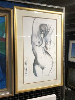 Sale 9147 - Lot 2025 - Brett Whiteley Poster Nude Study for Large Wood Carving, 1975