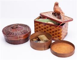 Sale 9190E - Lot 13 - A collection of woven containers consisitng of sewing wares, largest case width 20.5cm
