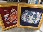 Sale 8437 - Lot 2075 - Pair Frames Aboriginal Art Works, Both signed Egg Layers, Balance of Nature
