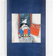 Sale 8435A - Lot 92 - A contemporary Chinese scroll of woman and child, image size 26 x 26cm, signed and sealed lower left