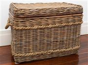 Sale 8575H - Lot 60 - A cane storage basket with lid and handles H: 60cm W: 80cm