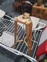 Sale 8620 - Lot 1045 - Timber Tripod Standard Lamp