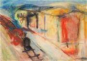 Sale 8892 - Lot 516 - Sam Atyeo (1911 - 1990) - Night Express, Kooweeup Station no. 14 45.5 x 63.5 cm