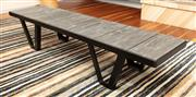 Sale 8904H - Lot 38 - A rustic timber and steel coffee table. Height 33cm x Length 160cm x Width 40cm