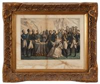 Sale 8934H - Lot 87 - After Kock; a hand coloured engraving of the Princepo Aux Personages De La Guerre DeOrient, Printed by Turgis Paris, frame size...