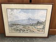 Sale 9024 - Lot 2087 - Artist Unknown Shrub Lands and Snow Capped Mountain watercolour 54 x 72cm (frame) signed lower right