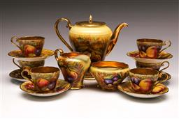 Sale 9122 - Lot 5 - Aynsley Gold Fruit Coffee Service For Six Persons N. Brunt with Associated Coffee Pot