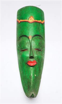 Sale 9153 - Lot 29 - A carved South East Asian hardwood mask, (H:38cm)