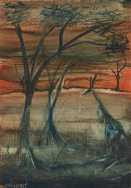 Sale 9195 - Lot 577 - KEVIN CHARLES (PRO) HART (1928 - 2006) Kangaroo in Landscape oil on board 41.5 x 29 cm (frame: 49 x 37 x 4 cm) signed lower left