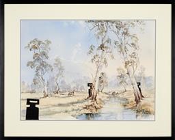 Sale 9199J - Lot 70 - Australian School - Kelly Figures Amongst an Australian Landscape