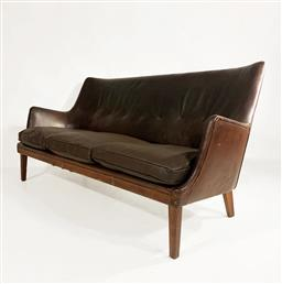 Sale 9252AD - Lot 5053 - RARE ARNE VODDER 3-SEAT SOFA FOR IVAN SCHLECTER, 1950s: winged shaped with original leather upholstered frame showing heavy patina a...