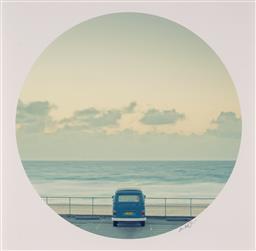 Sale 9252A - Lot 5008 - EUGENE TAN Combi Van at Bondi Beach photographic print dia 40 cm (frame: 53 x 53 x 4 cm) signed loewr right