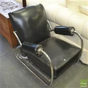Sale 8409 - Lot 1073 - Reclining Industrial Tubular Metal & Vinyl Armchair