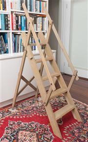 Sale 8575H - Lot 61 - A timber library ladder Ex Coco Republic, 03/2010, $1122