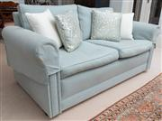 Sale 8595A - Lot 48 - A pale turquoise linen two seater lounge, W 174cm