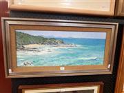 Sale 8695 - Lot 2002 - Garth Legg - Coastal Scene, 1977, oil on board 33 x 66cm (frame size), signed lower right