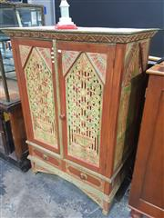 Sale 8760 - Lot 1011 - Painted Indian Cabinet with Carved Doors
