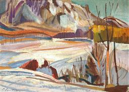 Sale 9047A - Lot 5060 - Albert Cloutier (1902 - 1965) - Landscape- Piedmont near Quebec 24.5 x 34 cm (frame: 46 x 56 x 4 cm)