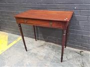 Sale 9048 - Lot 1061 - George III Mahogany Side Table, with frieze drawer & ring turned legs (h:77 x w:86 x d:48cm)