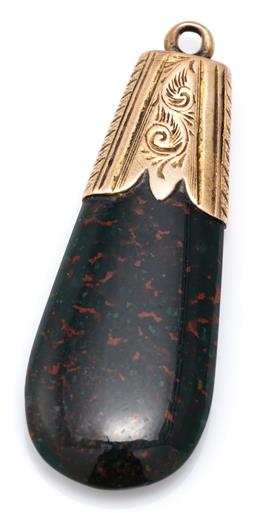 Sale 9115 - Lot 383 - AN ANTIQUE BLOODSTONE FOB; 37 x 14.5mm elongated bloodstone with engraved 15ct gold surmount.