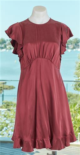 Sale 9120K - Lot 6 - A Zimmermann silk maroon ruffled dress; size 1