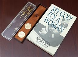 Sale 9155H - Lot 74 - A Nancy Bird, Signed autobiography. My god its a woman, together with a two up game set.