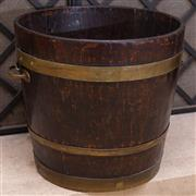 Sale 8550H - Lot 55 - A rare antique circular Irish oak George III peat bucket C: 1800, with three brass bands, and handles, H 38 x W 38cm