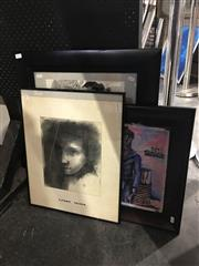 Sale 8702 - Lot 2072 - Group of 3 Original Artworks by various artists, Portraits