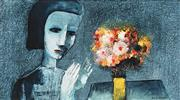 Sale 8838A - Lot 5101 - Charles Blackman (1928 - 2018) - Girl with Flowers 24 x 43cm