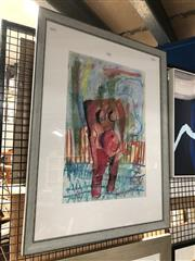 Sale 8841 - Lot 2052 - Lenore Howard (1955 - ) Figure in Surrealscape 1992  mixed media on paper, 81 x 62cm (frame), signed and dated