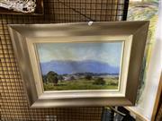 Sale 8891 - Lot 2077 - T. Bennett - Megalong Valley 6track, oil, SLR, 28.5x43cm