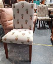 Sale 8934 - Lot 1076 - Set of Eight Fabric Upholstered Dining Chairs Depicting Pineapple Motifs