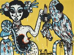 Sale 9157A - Lot 5037 - YOSI MESSIAH (1964 - ) Empress, 2020 mixed media on board (unframed) 75 x 100 cm signed lower right, dated and titled verso