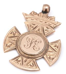 Sale 9115 - Lot 375 - AN ANTIQUE AUTRALIAN 9CT GOLD PRESENTATION FOB; in the shape of a Maltese cross with crown apex, monogrammed cartouche and presentat...