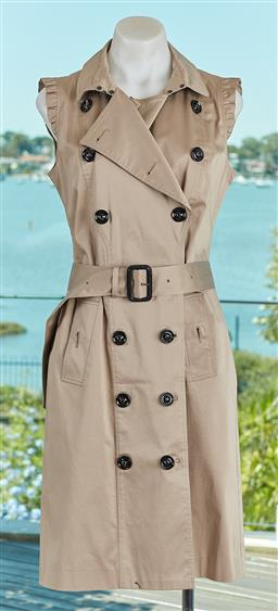 Sale 9120K - Lot 37 - A Burberry London sleeveless double breasted coat; in beige, with waist belt, size IT 42