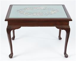 Sale 9123J - Lot 47 - A vintage Australian hand worked tapestry occasional table C: 1955 raised on cabriole legs and pad feet. Ht: 48cm x W: 69cm x D: 54cm