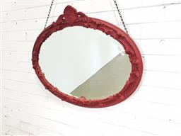 Sale 9154 - Lot 1087 - Painted early oval timber frame mirror ( 88 x 68cm)