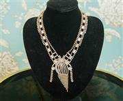 Sale 8448A - Lot 29 - Exquisite vintage 1930s diamante & rhinestone necklace featuring gorgeous waterfall diamante centrepiece and baguette rhinestone de...