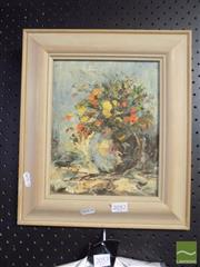 Sale 8474 - Lot 2052 - Artist Unknown, Still Life Vase of Flowers, Oil, SLR