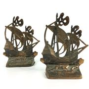 Sale 8545N - Lot 121 - Pair of Brass Sailing Ships Bookends