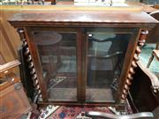 Sale 8714 - Lot 1042 - Victorian Rosewood Dwarf Bookcase, with two glass panel doors flanked by barley twist columns