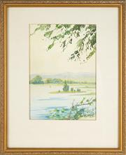 Sale 8836 - Lot 2023 - William Bustard (1894 - 1973) - Country Landscape with River 34 x 23.5cm