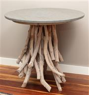 Sale 8904H - Lot 42 - A contemporary stone top circluar table with driftwood base. Height 74cm x Diameter 80cm