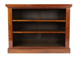 Sale 9123J - Lot 48 - An antique figured walnut open bookcase C: 1885. The top with a cross banded frieze onto open slab sided adjustable shelving raised ...