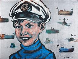 Sale 9141 - Lot 531 - David Bromley (1960 - ) The Young Captain acrylic and silverleaf on canvas 91 x 120 cm signed lower right
